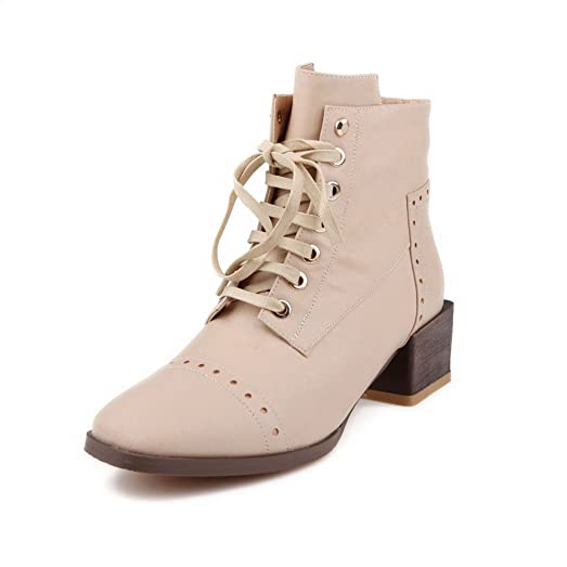 Women's Soft Material Round Closed Toe Solid Low-Top Kitten-Heels Boots Beige 8.5 B(M) US