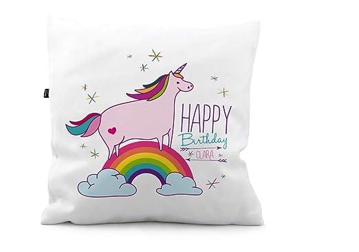 Cojín Unicornio del arco iris Cumpleaños ks237, poliéster ...