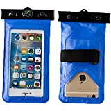 Ggree Dessert Beach Outdoor Waterproof Bag Mobile Phone Universal Fashion Super Touch Cell Phone Lanyard Waterproof Bag for Apple 5, 5S, 5C, 6, 6PLUS Samsung S3, S4, S5 (Blue)