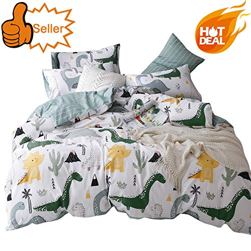 OTOB Soft Cotton Cartoon Dinosaur Bedding Sets Twin Boys Kids Duvet Cover Blue White Teens Adults 3 Pcs Girls Cover Duvet Set with 2 Pillow Shams Reversible Lightweight Home Textile Child Bed Set,Twin ()