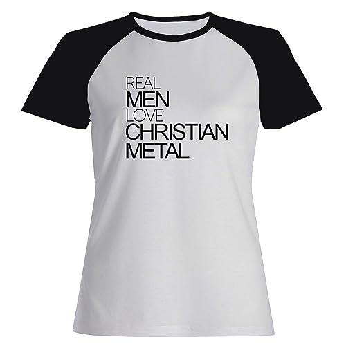 Idakoos Real men love Christian Metal - Musica - Maglietta Raglan Donna