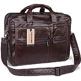 Jack&ChrisMen's Leather Briefcase Laptop Bag Messenger Shoulder Bag,NM7234