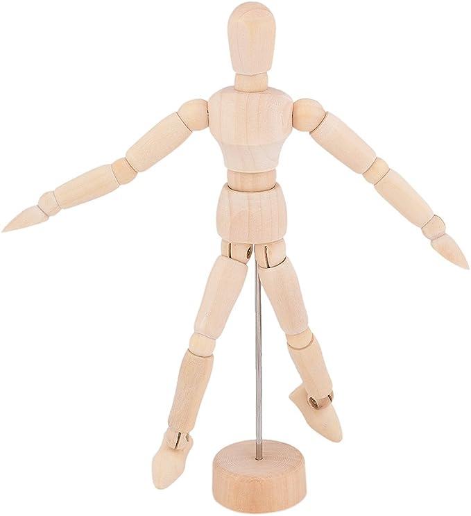 Shopready 14cm Wooden Movable Manikin Adjustable Artist Mannequin Dummy Model