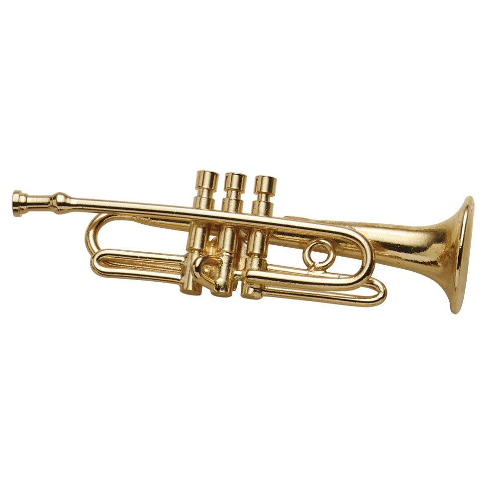 BROADWAY GIFTS Women's Miniature Musical Instrument Lapel Pins - Velvet Lined Case - Trumpet