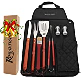 ROMANTICIST 9Pcs Stainless Steel BBQ Grill Tool Set with Hard Wood Handle in Fold-n-Snap Apron Storage - Outdoor Barbecue Grill Accessories Kit Set for Men with Gift Package