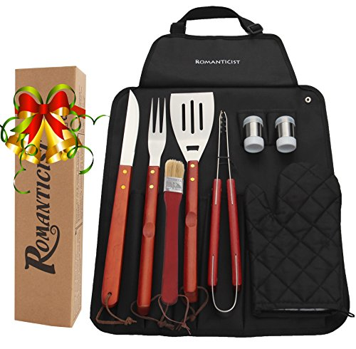 9Pcs Stainless Steel BBQ Grill Tool Set with Hard Wood Handle in Fold-n-Snap Apron Storage - Outdoor Barbecue Grill Accessories Kit Set for Men with Gift Package