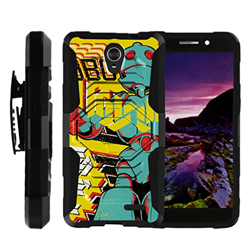TurtleArmor | Compatible for ZTE Maven 2 Case | ZTE Sonata 3 Case [Octo Guard] Armor Hybrid Cover Rugged Sturdy Kickstand Impact Silicone Belt Clip Holster Robot Android - Robo Boy by TurtleArmor