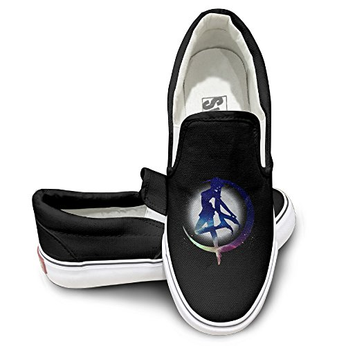 [Harriy Sailor Moon Unisex Casual Flat Canvas Sneaker Shoes 44 Black] (Magic Mike Baby Costume)