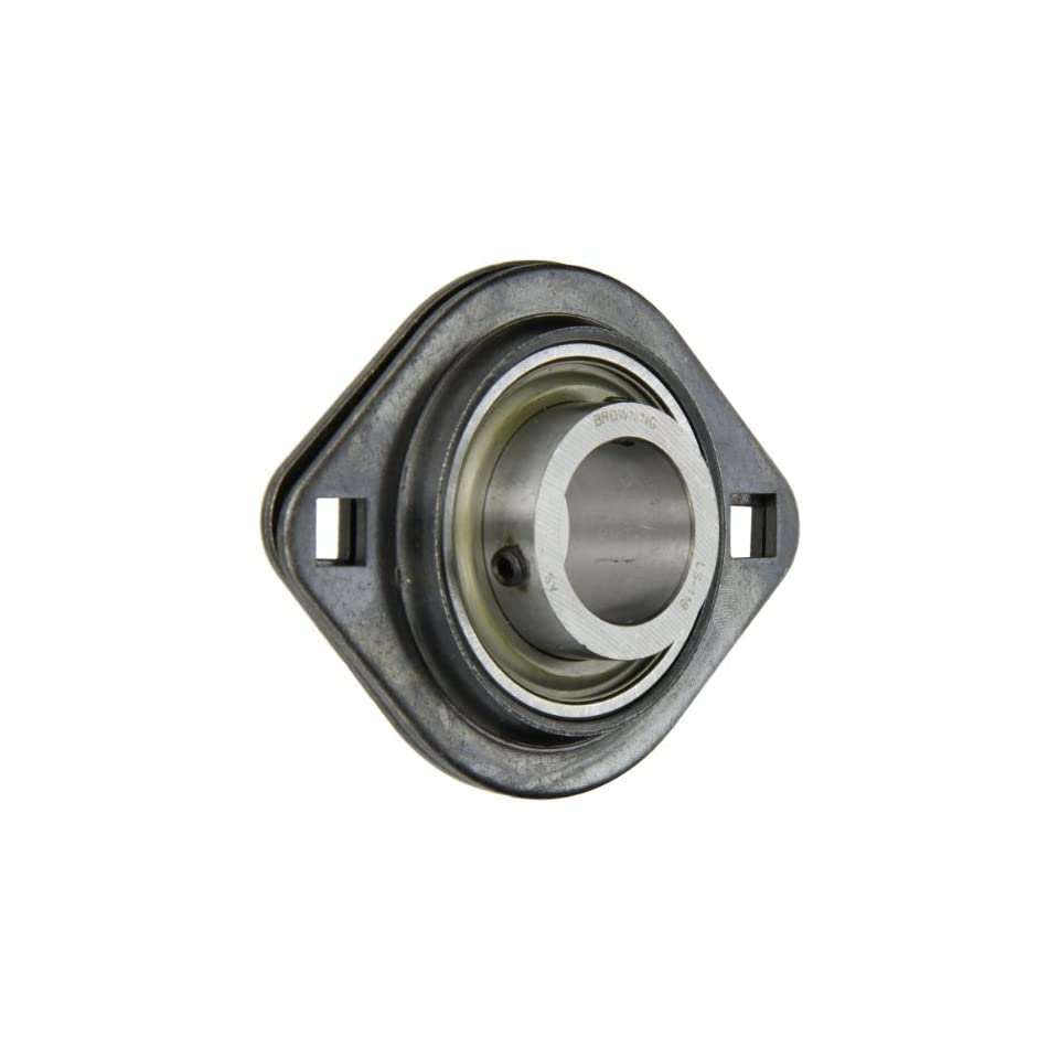 Browning SSF2S 118 Light Duty Flange Unit, 2 Bolt, Setscrew Lock, Non Relubricatable, Contact and Flinger Seal, Stamped Steel, Inch, 1 1/8 Bore, 3 9/16 Bolt Hole Spacing Width, 4 7/16 Overall Width