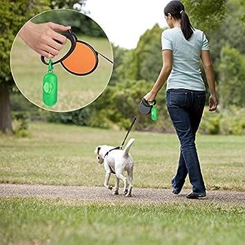 FEIGO Sacchetti per Bisogni dei Cani Lotto di 200 Sacchetti di Cacca per Cane e Gatto Distributore Incluso con Laisse Clip Verde