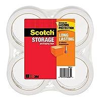 Cinta de embalaje de almacenamiento duradero de Scotch, 1,88 pulgadas x 54,6 yardas, 4 rollos (3650-4), transparente
