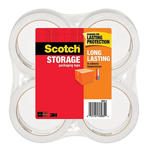 Scotch Long Lasting Storage Packaging Tape, 1.88 Inches x 54.6 Yards, 4 Rolls (3650-4), Clear
