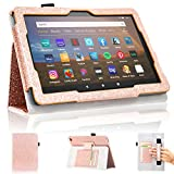 ACdream Case for All-New Fire HD 8 and Fire HD 8 Plus(10th Generation Tablet, 2020 Release), Folio Slim Stand Leather Case, Glitter Rose Gold
