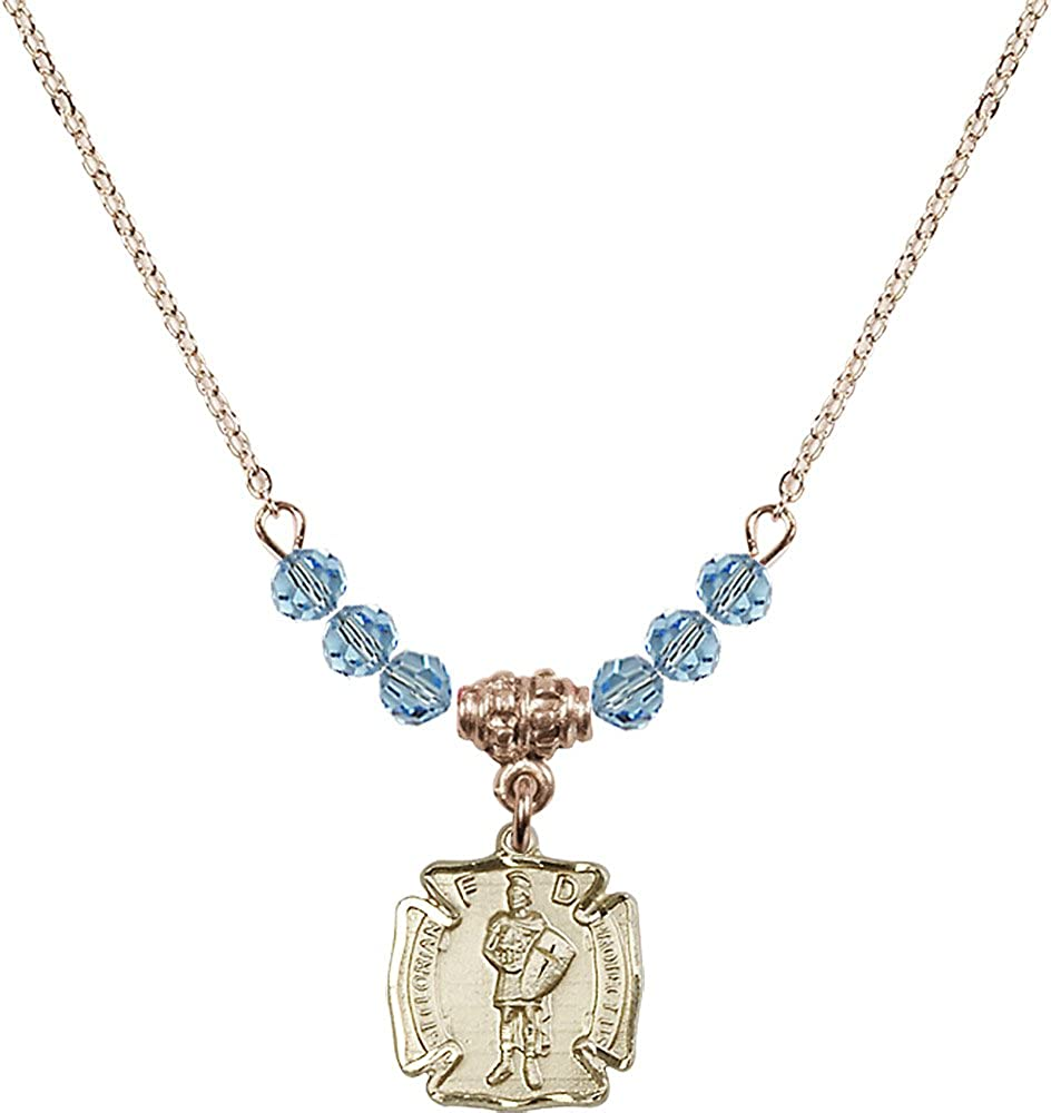 18-Inch Hamilton Gold Plated Necklace with 4mm Aqua Birthstone Beads and Gold Filled Saint Florian Charm.