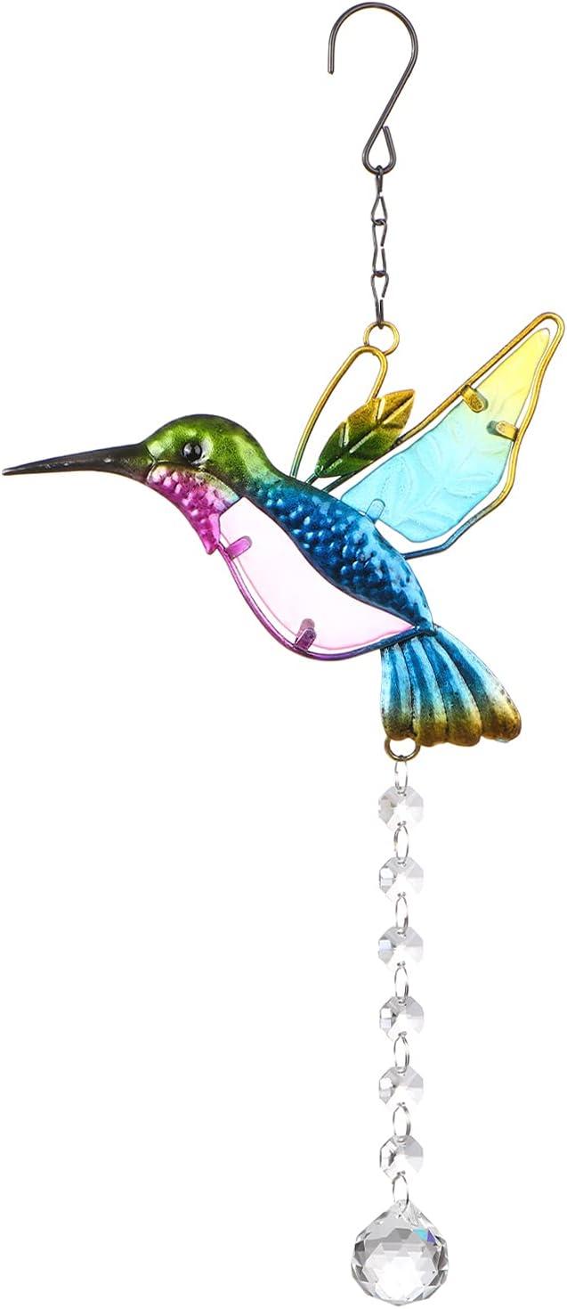 Stained Glass Window Hangings Hummingbird, Sun Catcher Crystals Window Suncatcher, Outdoor Garden Decoration Gift for Hummingbird Lovers