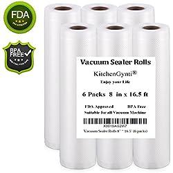 Vacuum Sealer Rolls 6 Packs 8'' * 16.5' 4 mil Commercial Vacuum Sealer Bags for Food Saver, Sous Vide Cooking