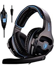 PS4 Gaming Headset, Gaming Headphones for Multi-Platform PS4 / Switch/PC/Laptop/Mac Computer, Rotated Mic/Inline Control/Stereo Bass / SA810 Black Blue