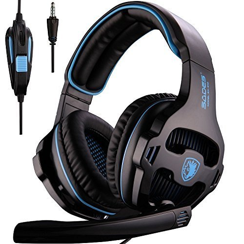 PS4 Gaming Headsets, Sades SA810 Xbox one Gaming Headphones 3.5MM Interface with MIC in-Line Control for Multiplatform PC Xbox one PS4 MAC Tablet Black Blue