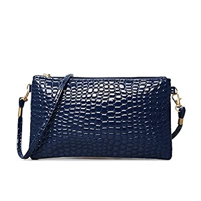 Mefly Téléphone mobile, marée sac sac à bandoulière unique, Mesdames crocodile, sac d'épaule, téléphone portable, porte-monnaie, bleu