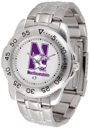 SunTime Northwestern Wildcats Sport Steel Band Men's Watch