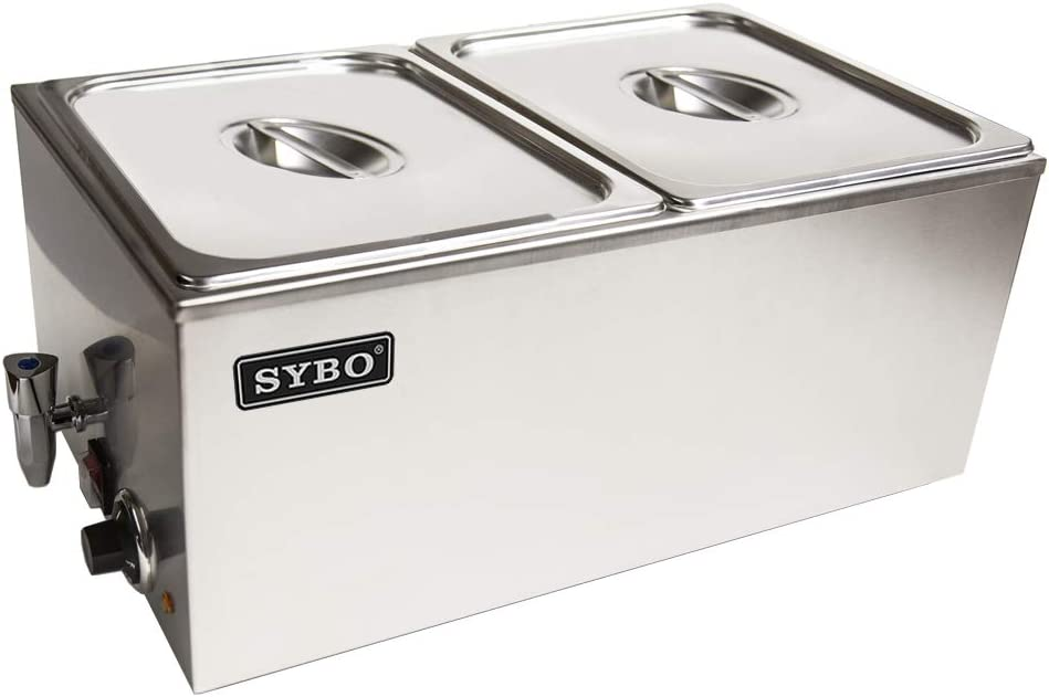 SYBO ZCK165BT-2 Commercial Grade Stainless Steel Bain Marie Buffet Food Warmer Steam Table for Catering and Restaurants, (2 Sections with Tap), Sliver