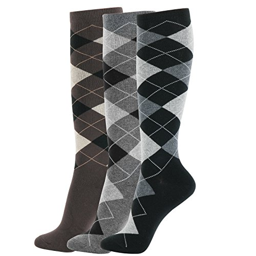 - Girl Knee High Socks Soft Cotton Colorful Pattern Design For Women Summer or Winter (P-Argayle I-3pair)