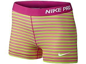"Women's Nike Pro 3"" Core Compression Stripe Good Shorts Volt/Hot Pink 642639-702 (XL)"