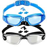 EverSport Swim Goggles, 2-Pack, Swimming Goggles, Mirrored Lens, for Adult Men Women Youth Kids Child, Anti-Fog, UV Protection, Shatter-Proof, Watertight