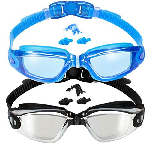 (EverSport Swim Goggles, 2-Pack, Swimming Goggles, Mirrored Lens, for Adult Men Women Youth Kids Child, Anti-Fog, UV Protection, Shatter-Proof, Watertight)