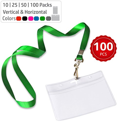 Durably Woven Lanyards & Horizontal ID Badge Holders ~ Premium Quality, Waterproof & Dustproof ~ for Moms, Teachers, Tours, Events, Businesses, Cruises & More (100 Pack, Green) by Stationery King -