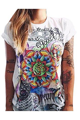 (Haircloud Women's Loose Short Sleeve Graphic Print Tee Shirt Tops, Green, Large )