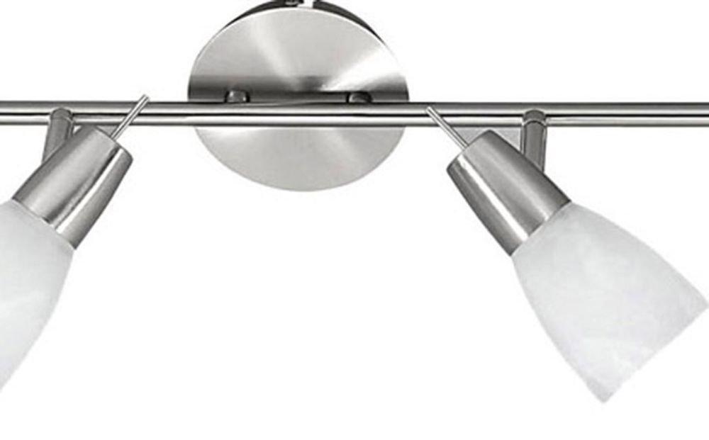 zeitlose Spot-Leiste Edelstahl wei/ßes Lampen Glas L= 94 cm inkl Leuchtmittel LED Decken Strahlerleiste LED Deckenleuchte 4 flammig