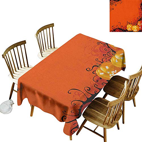 kangkaishi Leakproof Polyester Long Tablecloth Outdoor and Indoor use Three Halloween Pumpkins Abstract Black Web Pattern Trick or Treat W60 x L126 Inch Orange Marigold Black]()