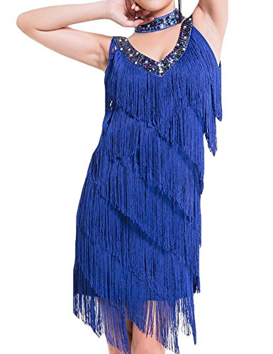 [KAYAMIYA Women's Art Deco 1920s Gatsby Sequins Tassel Sway Flapper Cocktail Dress M/L Blue] (Blue Flapper Dress)