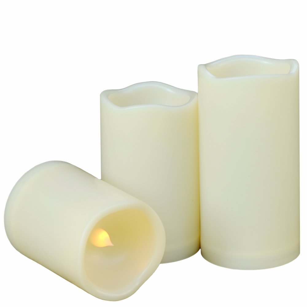 Weatherproof Flameless Candles with 6 H Timer-1000 Hours Long Battery Life, Waterproof Battery Operated Flickering LED Pillar Candles for Outdoor Party Decor and Gifts.( 4'' 5'' 6'' Ivory)