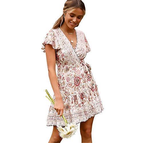 Crossover Front Dress - Byinns Casual Summer Dresses for Women Floral Print Bohe Dress Faux Wrap Mini Dress Tea Dress for Beach Party ( Size:US2-20 )