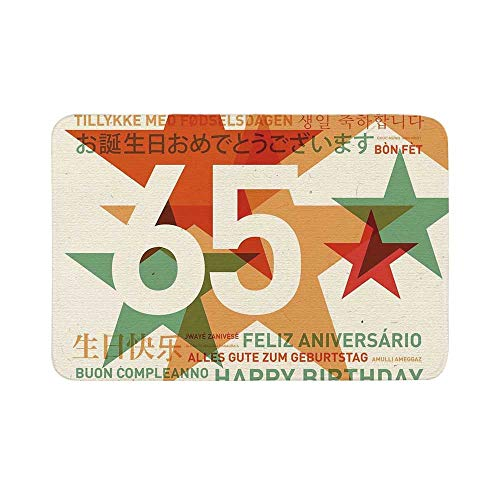 C COABALLA 65th Birthday Decorations Durable Door Mat,Happy Birthday in Languages French Italian Worldwide Celebration for Living Room,17.7