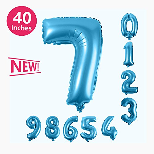 Number Balloons, Toufftek Blue Foil 40 Inch Number 7 Funny Number Balloons for Birthday Party Anniversary Halloween Party Baby Shower Wedding