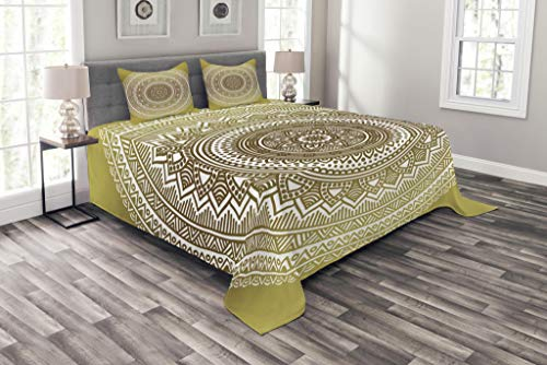 (Ambesonne Gold Bedspread Set King Size, Ombre Mandala Flower Pattern Queen Inspired Ethnic Prints Hippie Design, Decorative Quilted 3 Piece Coverlet Set with 2 Pillow Shams, Mustard and White)