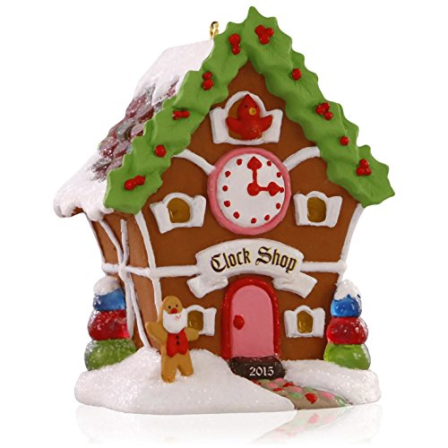 Hallmark QX9167 Noelville Gingerbread Clock Shop Ornament