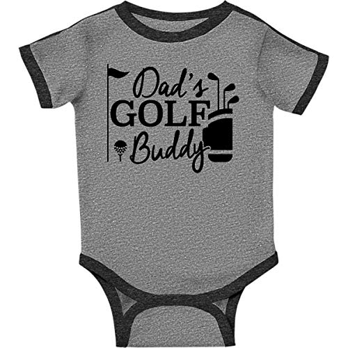 inktastic - Dad's Golf Infant Creeper Newborn Ringer Heather and Smoke 26877