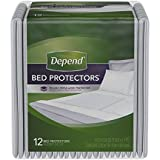 Depend Incontinence Bed Protectors, Disposable Underpad, Overnight Absorbency, 12 Count (Pack of 1)
