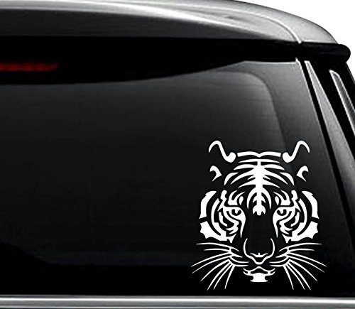 Tiger Face Animal Decal Sticker For Use On Laptop, Helmet, Car, Truck, Motorcycle, Windows, Bumper, Wall, and Decor Size- [6 inch] / [15 cm] Tall / Color- Matte Black (Stickers Tiger)