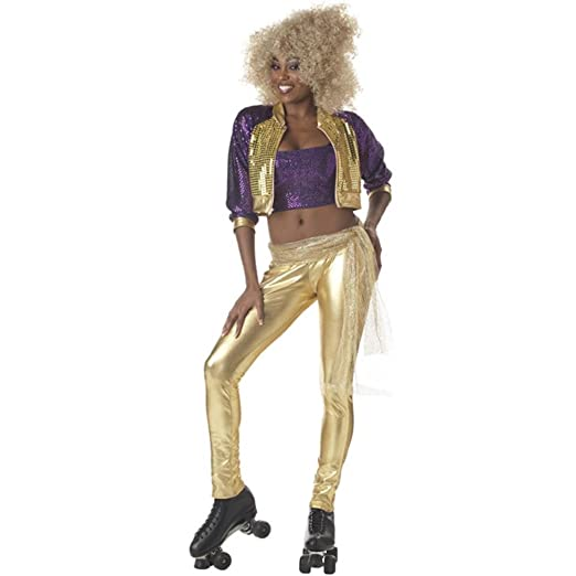 70s Costumes: Disco Costumes, Hippie Outfits Womens Roller Rink Girl Costume Gold $38.99 AT vintagedancer.com