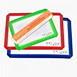 TTLIFE Set of 3 Silicone Baking Mat with Measurements- 2 X Standard Half Sheet, 1 X Toaster Oven - Nonstick Heat Resistant Liners for Cookie Sheets, Easy to Clean and Reusable, FDA Approved