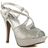 Kenneth Cole Unlisted Womens Couple of Hours Gl Peep Toe, Silver, Size 8.5