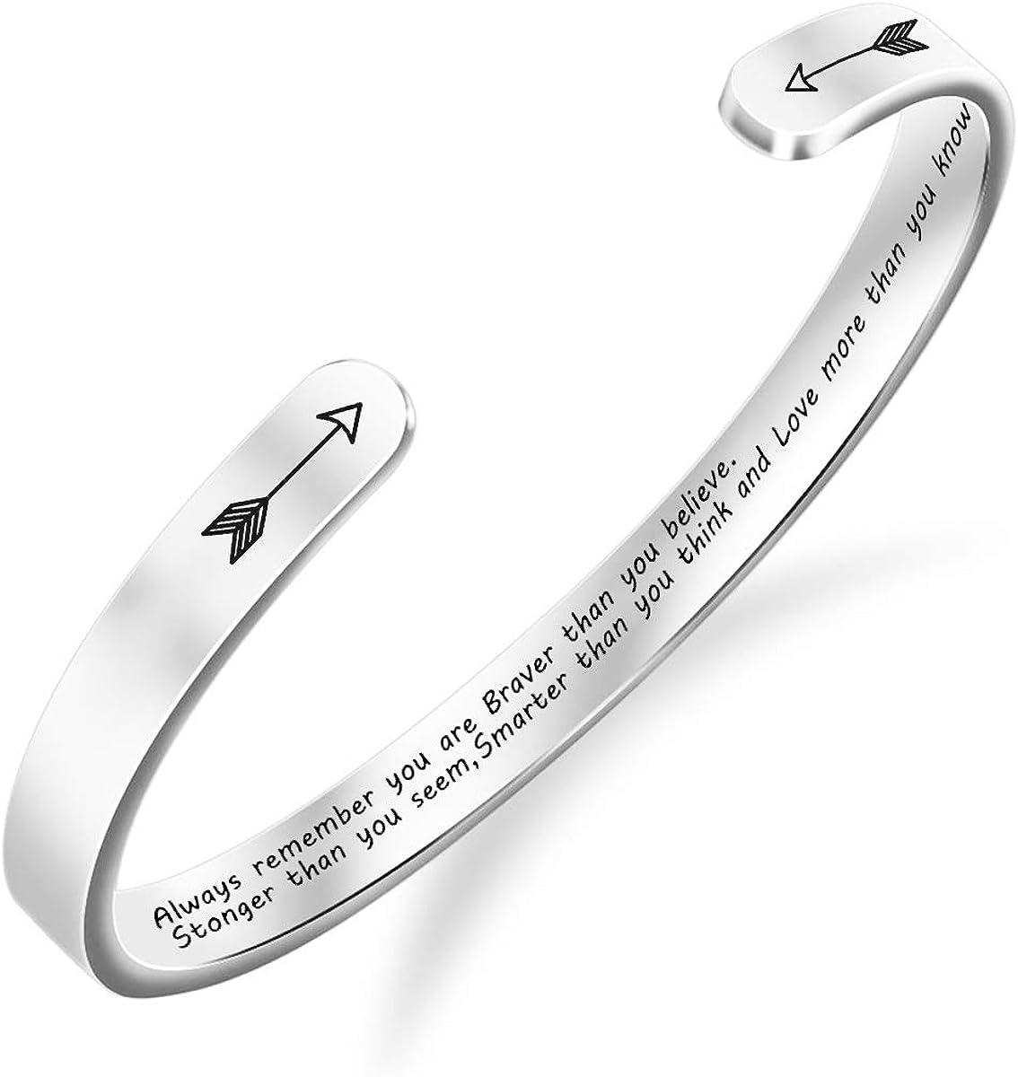 BFJLIFE Inspirational Cuff Bangle Bracelets for Women Girls Stainless Steel Jewelry