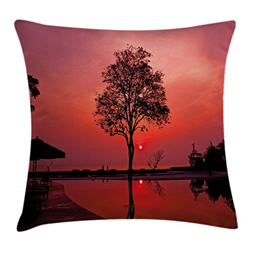 Sunrise Throw Pillow Cushion Cover by Ambesonne, Silhouette of Misty Twilight Sky with Tree and Nature Reflections Exotic Image, Decorative Square Accent Pillow Case, 20 X 20 Inches, Black - Pillow Throw Twilight
