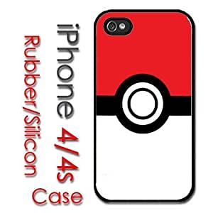 iPhone 4 4S Rubber Silicone Case - pokeball logo pokemon patter clean