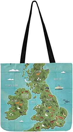 Womens Canvas Large Tote Shoulder Handbag England Map Perfect Handbag Bag Tote
